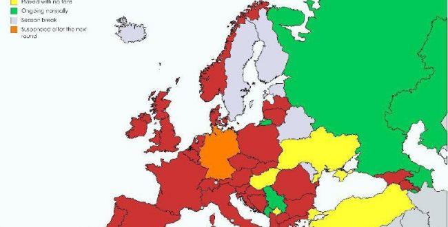 نقشه وضعیت برگزاری فوتبال در کشورهای اروپایی