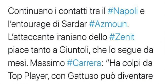 نیکولو شیرا خبرنگار مشهور ایتالیایی از تمایل ناپولی به خرید سردار آزمون خبر داد