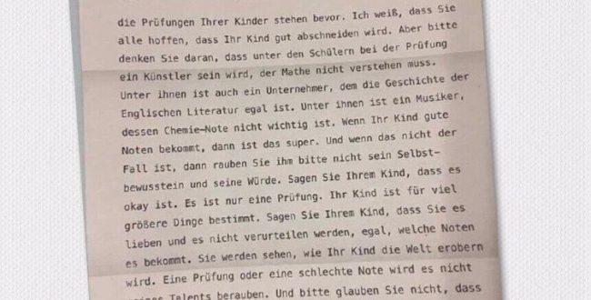 نامه یک مدیر مدرسه در آلمان به والدین در آستانه امتحانات